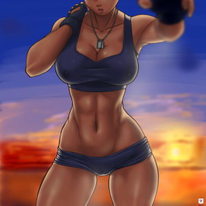 sunset gym girl body